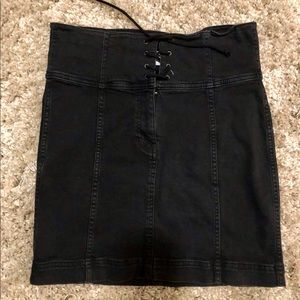 Free People Black Denim Mini Skirt